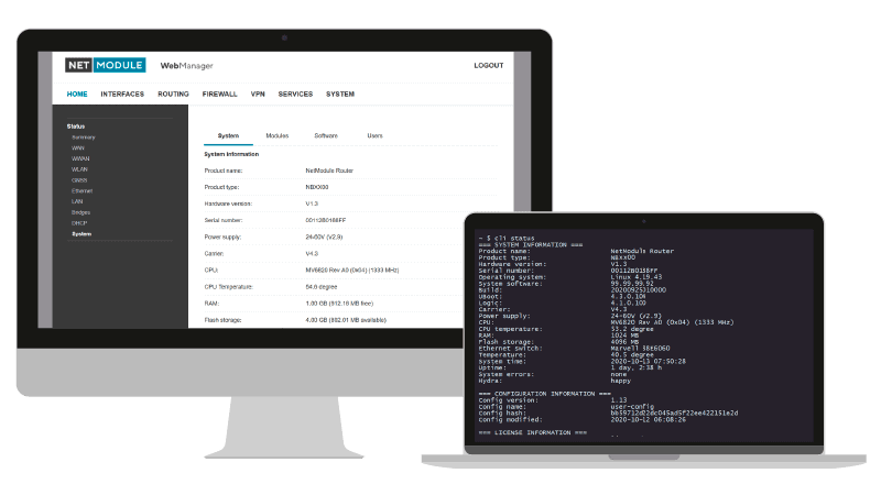 NetModule powered by powerful OpenEmbedded with Web, USB and CLI configuraiton